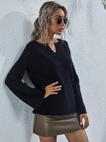 Camisa de tricô com decote em V outono sólida