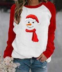 女性のクリスマスプリントラウンドネックシャツ