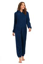 Winter Women Zip Up Fleece Onesie Pijama