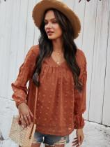 Autumn Casual Pop Sleeves V-Neck Chiffon Shirt