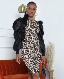 Autumn Leopard Print Puff Sleeves Formal Party Dress