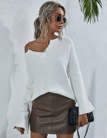 Autumn Solid Plain V-Neck Knitting Shirt