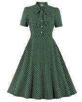 Party Polka Green Front-Tie Vintage Skater Dress