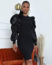 Vestido de fiesta formal con mangas abullonadas de otoño negro