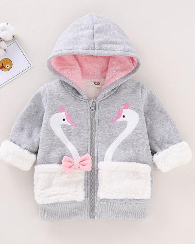 Детская зимняя куртка с капюшоном на молнии с животными для девочек