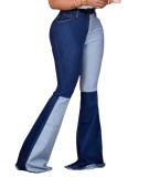 Winter Contrast Color High Waist Flare Jeans