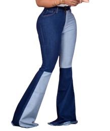 Зимние расклешенные джинсы контрастного цвета с высокой талией