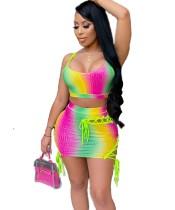 Укороченный топ с разноцветными лямками и мини-юбка на шнуровке Summer Party