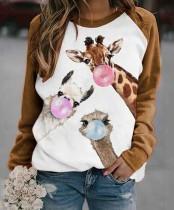 Frauen Weihnachtsdruck Rundhals-Shirt