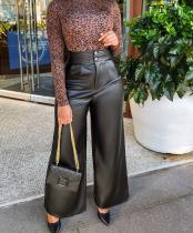 Pantalones anchos elegantes de cintura alta de cuero negro de invierno