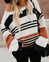Jersey suelto de rayas de colores de invierno