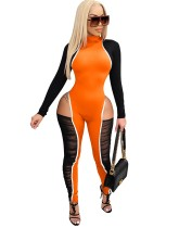 Herbst Party Sexy Cut Out Rüschen Bodycon Jumpsuit