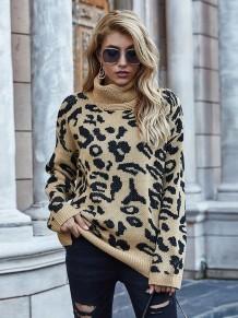 Winter Rollkragenpullover mit Leopardenmuster und langem, normalem Pullover