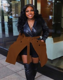Winter Black and Brown Contrast Leather Jacket