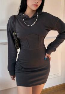 Осеннее повседневное однотонное однотонное платье с капюшоном и корсетом