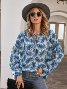 Blusa Outono Bohemian Estampado Azul Solto