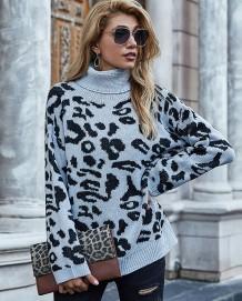 Camisola longa regular com estampa de leopardo de inverno