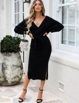 Winter Solid Plain Seitenschlitz gewickelt Midi Sweater Kleid mit Gürtel