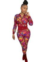 Ensemble veste et pantalon moulants colorés à imprimé décontracté d'automne