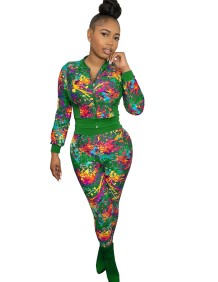 Autumn Casual Print Colorful Tight Jacket and Pants Set