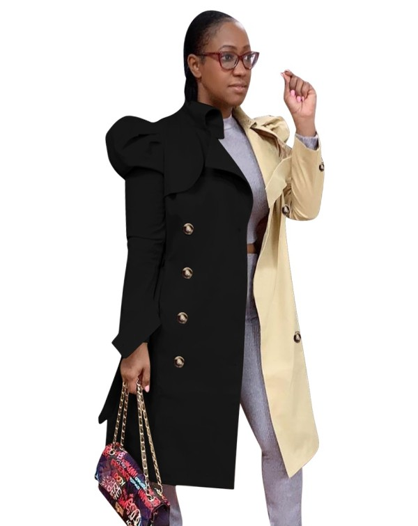 Manteau long élégant de couleur contrastée d'automne