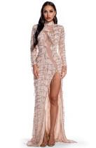 Autumn Occassional Tassel Sequin Side Slit Long Dress