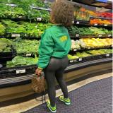 Veste en jersey verte boutonnée à imprimé automne