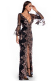Sonbahar Ara Sıra Pullu Ön Yarık V Yaka Geniş Manşetli Uzun Elbise