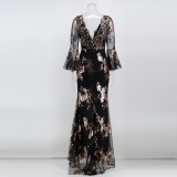 Autumn Occassional Sequin Front Slit V-Neck Long Dress with Wide Cuffs