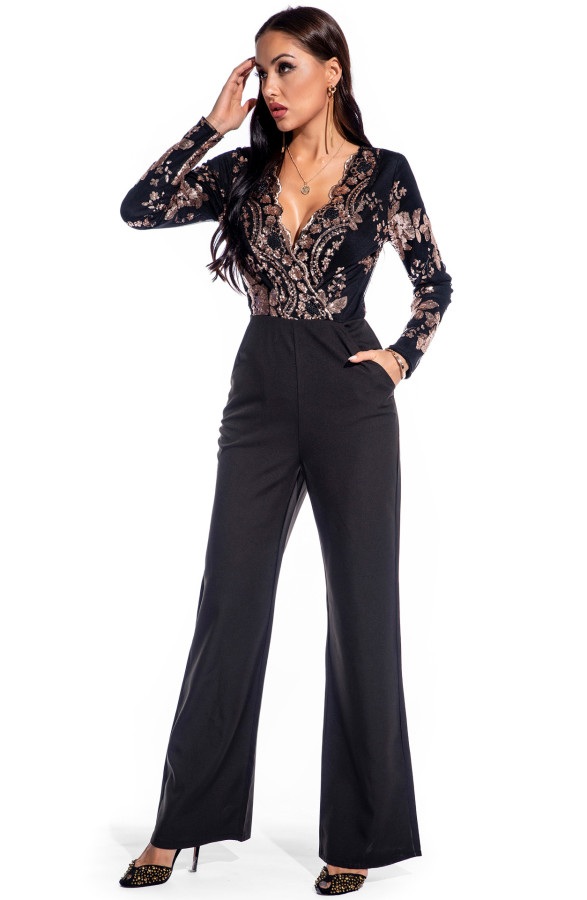 Autumn Sequin Black Wrapped Formal Jumpsuit