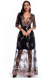 Autumn Occassional Floral Sequin V-Neck Long Dress