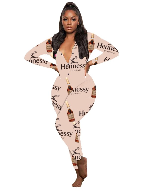 Autumn Print Bodycon Jumpsuit Onesie Pajama