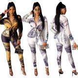 Autumn Dollar Print Tied Blouse and Matching Pants Set