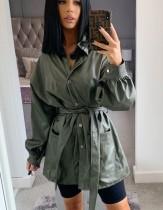 Vestido blusa de cuero de invierno con cinturón