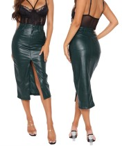 Winter High Waist Slit Front Leather Midi Skirt