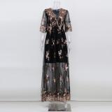 Autumn Occassional Floral Sequin V-Neck Long Dress