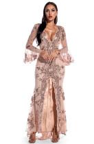 Autumn Occassional Pailletten Front Schlitz Langes Kleid mit V-Ausschnitt und breiten Manschetten