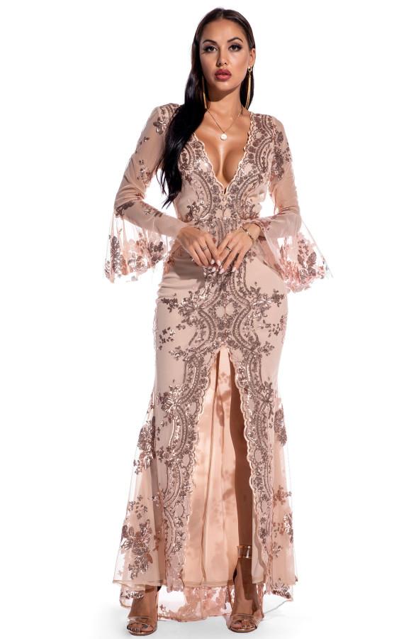 Осеннее длинное платье с V-образным вырезом и широкими манжетами с разрезом спереди и пайетками