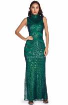 Summer Occassional Sequins Green Sleeveless Long Dress