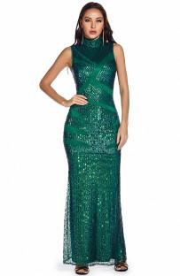 Sommer Gelegentliche Pailletten Grünes ärmelloses langes Kleid