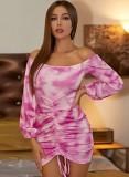 Robe de club froncée à épaules dénudées rose tie dye d'automne