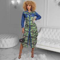 Langes Blusenkleid mit Herbst-Camou-Print