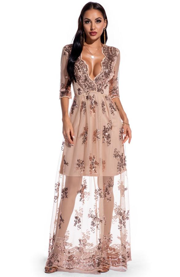 Sonbahar Fırsat Çiçek Pullu V Yaka Uzun Elbise