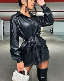 Winter Leder Bluse Kleid mit Gürtel