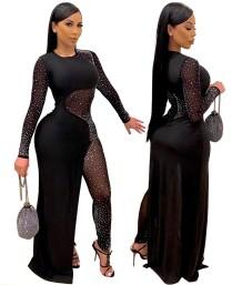 Herfst partij kralen zwarte sexy formele jumpsuit