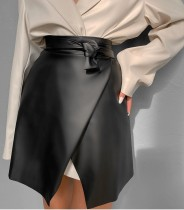 Winter Black Leather Elegant Wrapped Mini Skirt