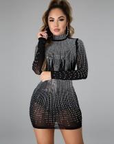 Sonbahar Partisi Pullu Siyah Mini Kulüp Elbise