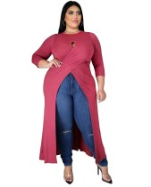 Camisa comprida envolta em tamanho plus size outono alta e baixa fechadura