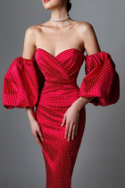 Summer Occassional Red Puff Sleeve Strapless Polka Vintage Midi Dress