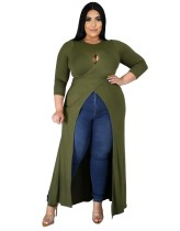 Plus Size Herbst High Low Keyhole Wrapped Long Shirt